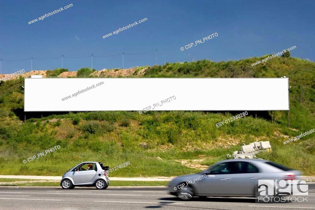 Stock Photo: blank advertising billboard.