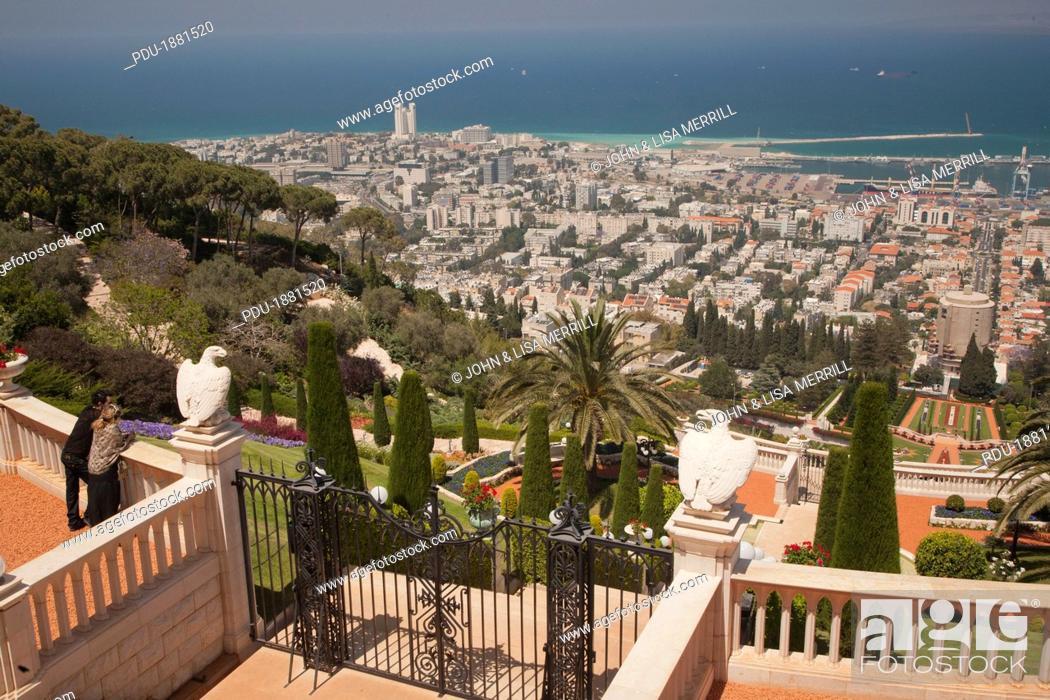 Stock Photo: Israel, Middle East, Haifa, Baja'i Gardens or Baha'i  and views down to city, port and Mediterranean Sea. The Terraces of the Baha'i Faith.