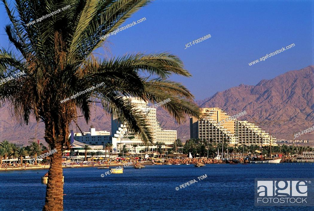 Stock Photo: Israel, Eilat, hotels along the Red Sea.