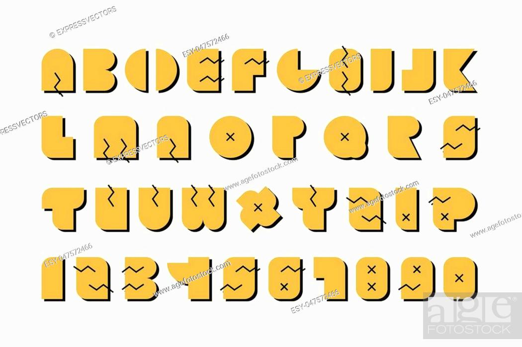 Stock Vector: Vector english alphabet. Luxury font with shadows.