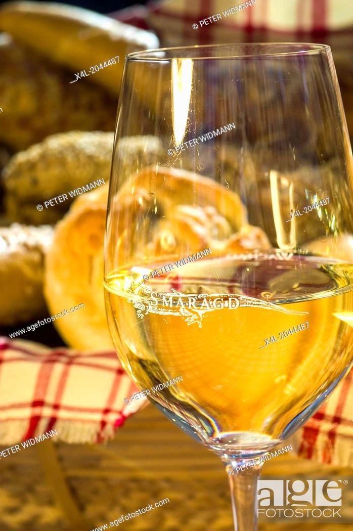 Stock Photo: wine glass Smaragd wine.