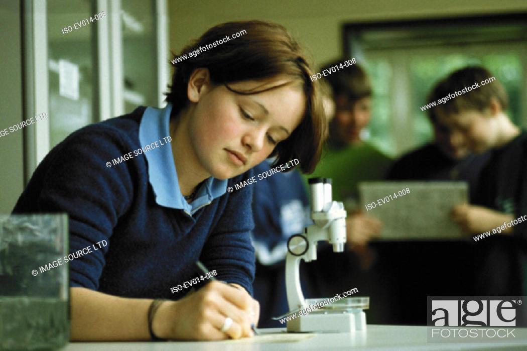 Stock Photo: Biology class.