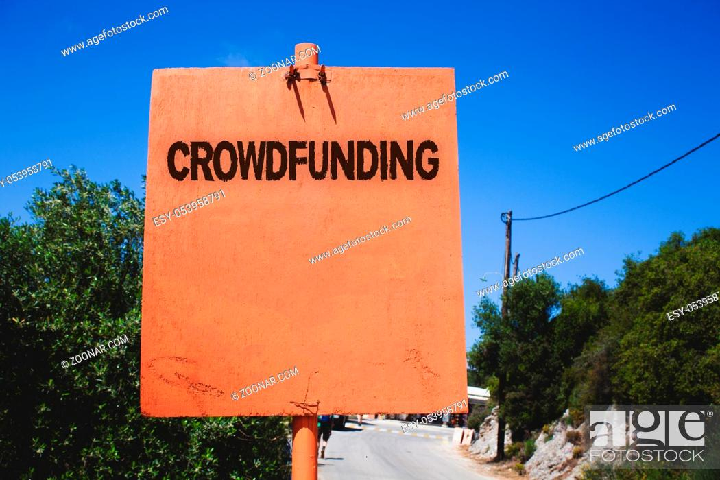 Stock Photo: Conceptual hand writing showing Crowdfunding. Business photo text Funding a project by raising money from large number of people Wooden board post ideas blue.