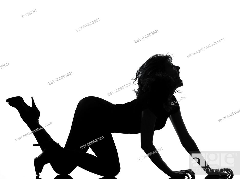 Stock Photo: full length silhouette in shadow of a young woman crouching roar in studio on white background isolated.