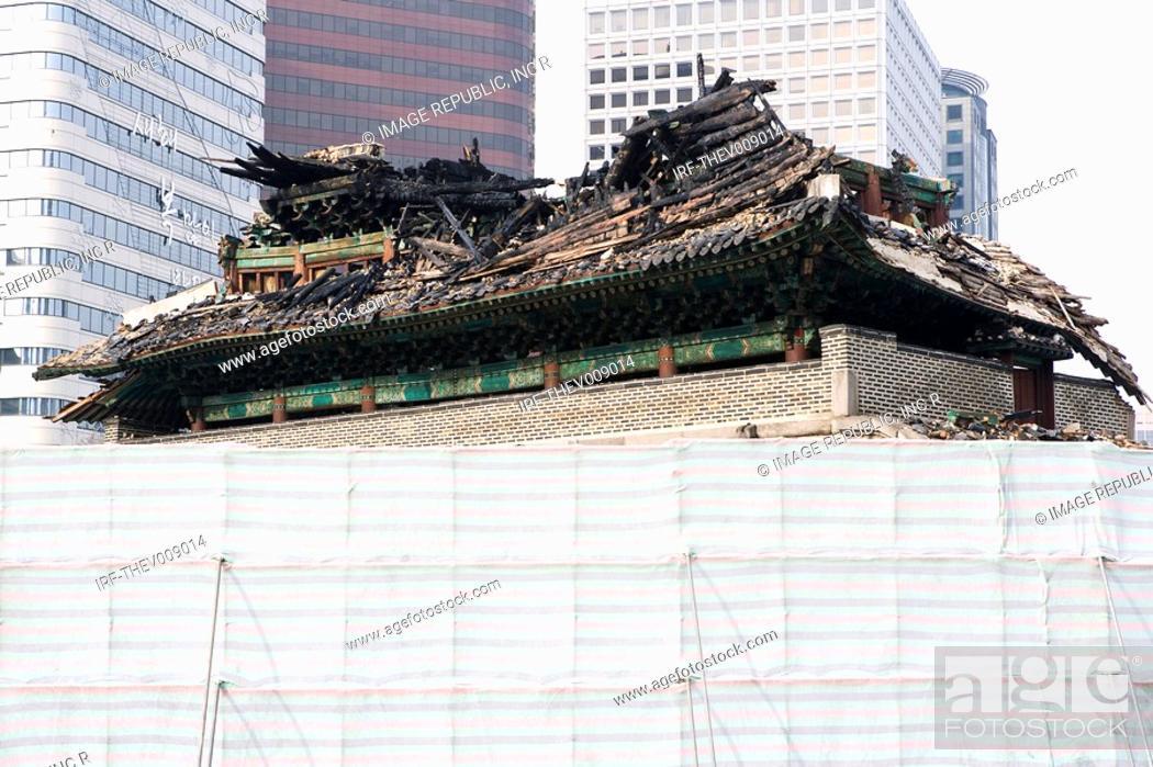 Stock Photo: Namdaemoon burned down.