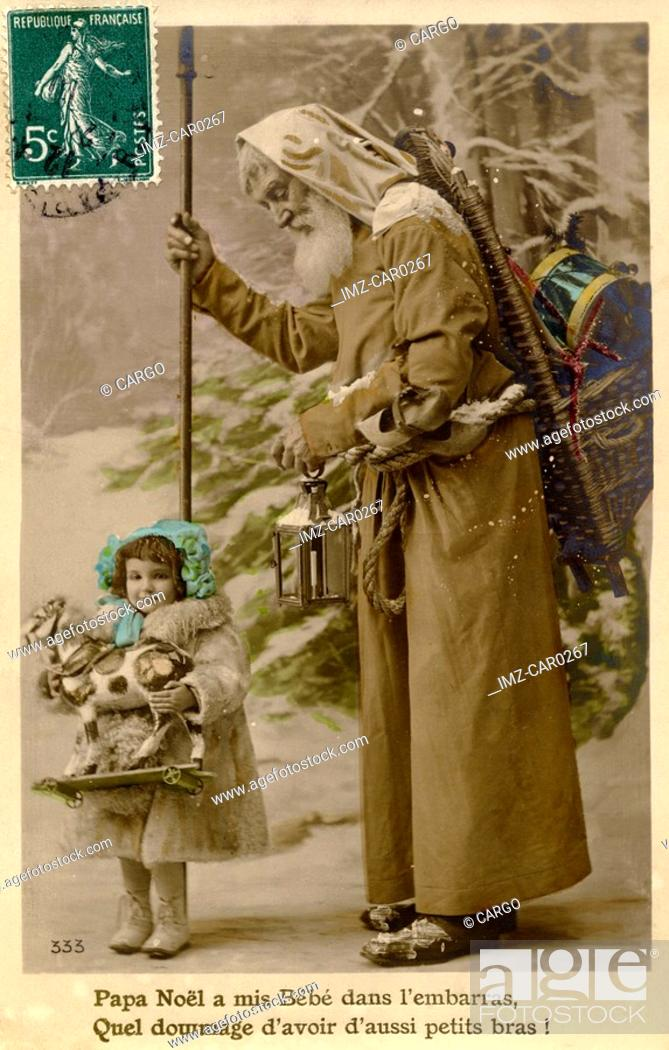 Stock Photo: Vintage Christmas postcard of Santa Claus walking with a little girl holding a toy horse.