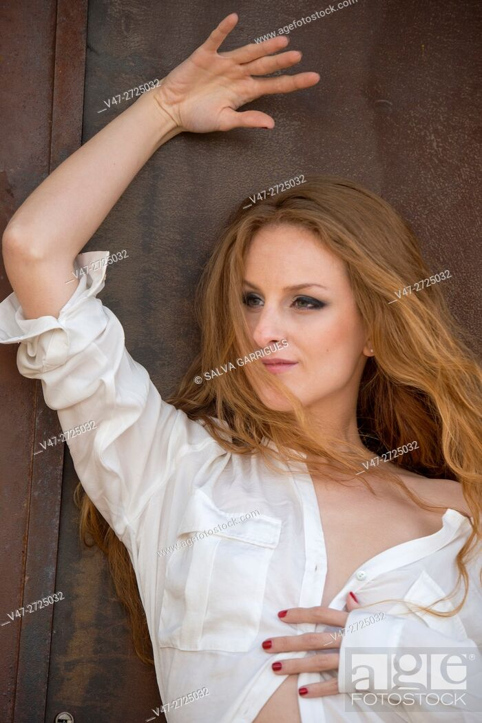 Stock Photo: Portrait of a woman with white shirt, Alboy, Genoves, Valencia, Spain, Europe.
