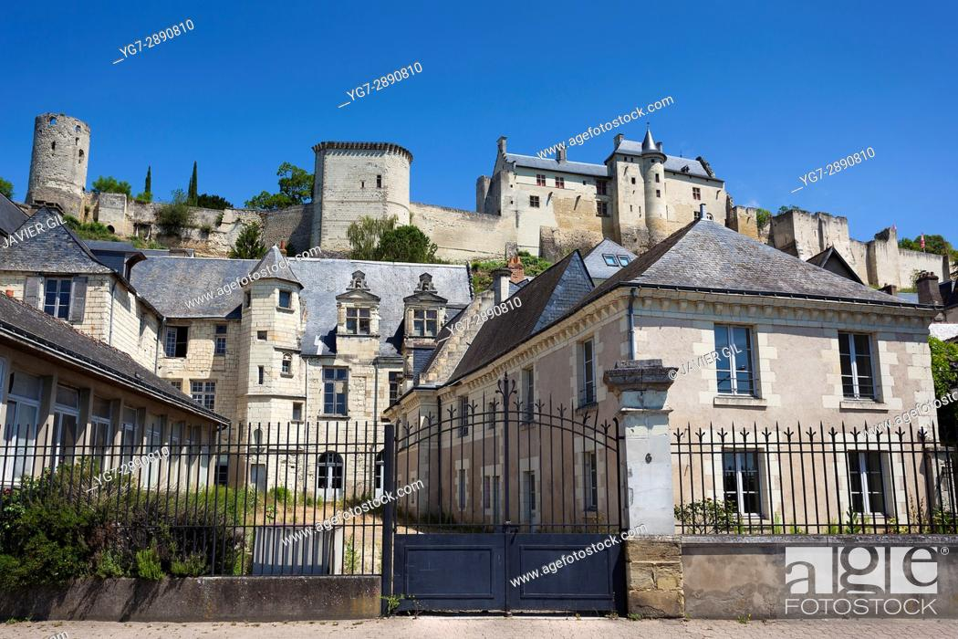 Stock Photo: Architecture and castle of Chinon, Indre-et-Loire, Loire valley, Central region, France.