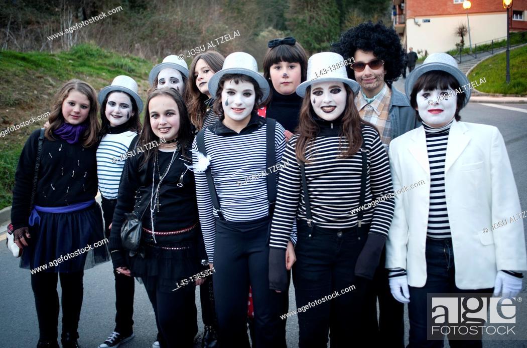 Stock Photo: Carnival in legazpi village,guipuzcoa,basque country,euskadi.