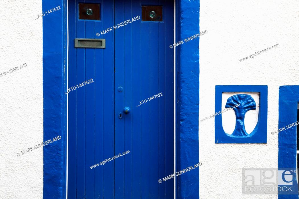 Stock Photo: Blue and White House Anstruther Fife Scotland.
