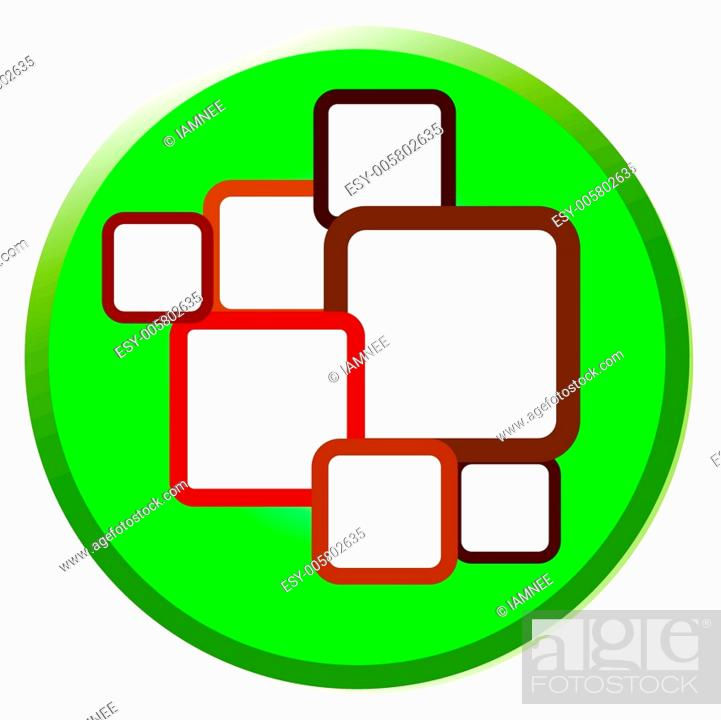 Stock Vector: Illustration of Brown Squares in Shiny Circle Label.