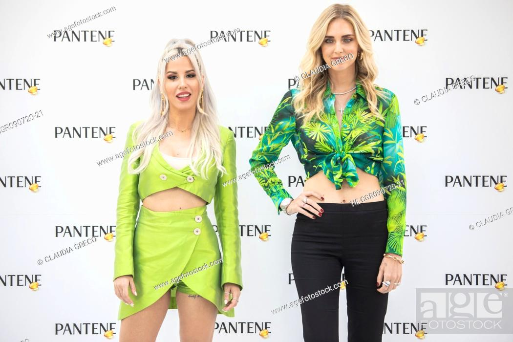 Stock Photo: Italian rapper Baby K and Italian influencer Chiara Ferragni testimonials of the new spot Pantene Estate during the Pantene digital event in Milan.