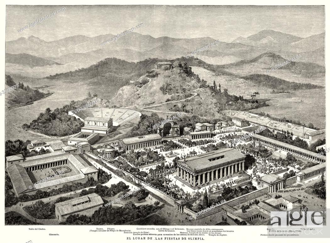 Stock Photo: Artistic recreation landscape panoramic view of Olympia, at the time of the ancient Olympic Games. Ancient Greece. Old 19th century engraved illustration.