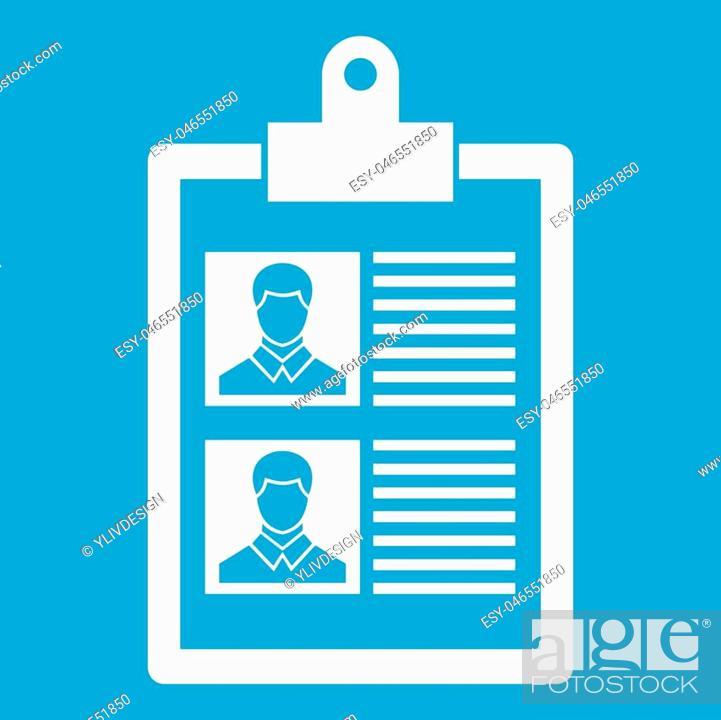Resume Of Two Candidates Icon White Isolated On Blue Background
