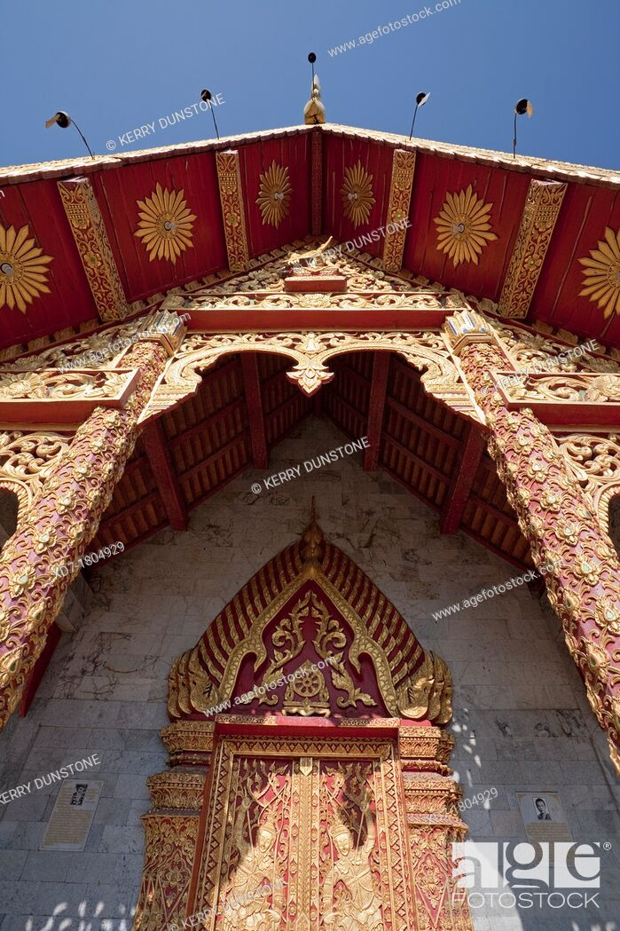 Stock Photo: Entrance to Ubosot Ordination Hall, Wat Tung Yu, Chiang Mai, Thailand.