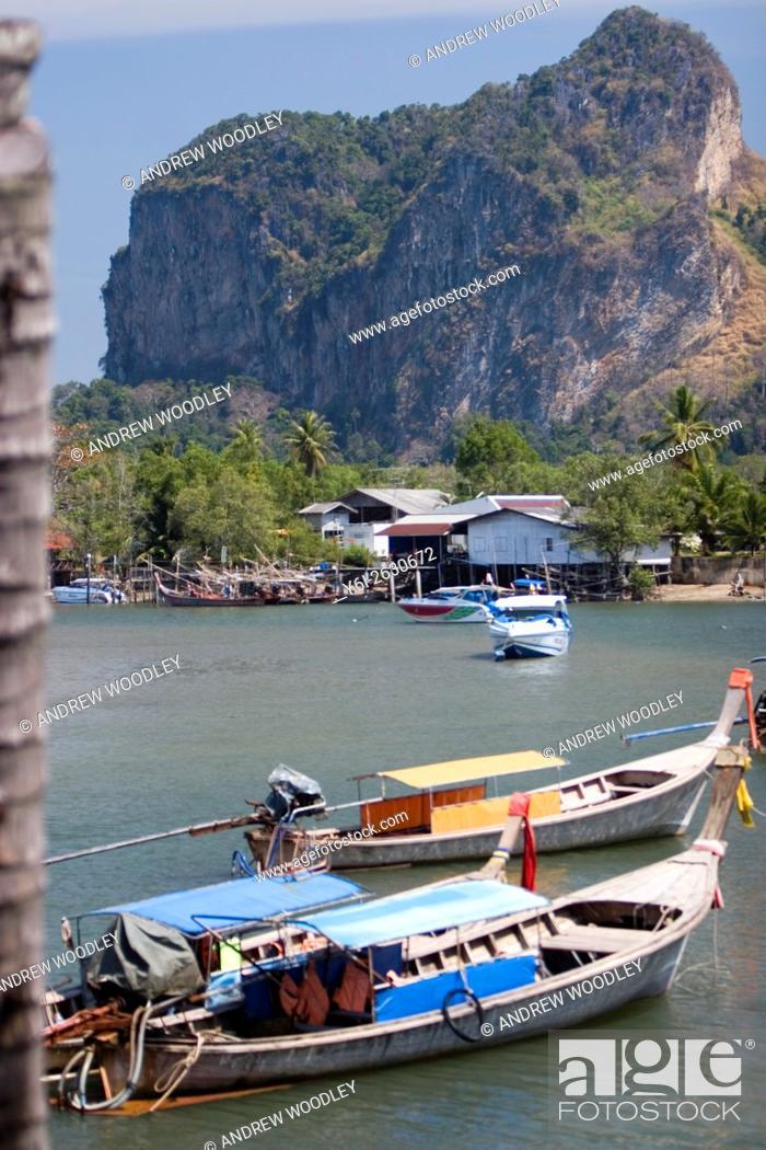 Stock Photo: Hat Noppharat Tara inlet starting point for ferry and many tour boats near Ao Nang Thailand.