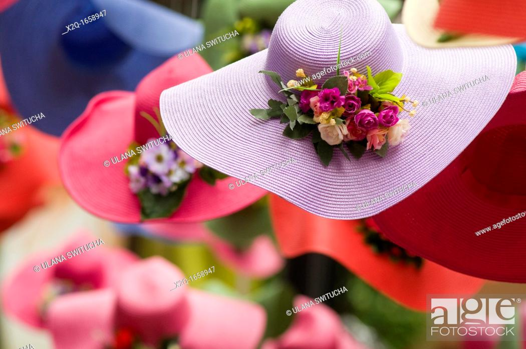 Stock Photo: Colourful spring hats.