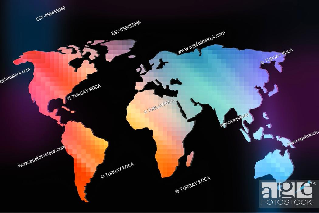 Stock Photo: Roughly outlined world map with a colorful background patterns.