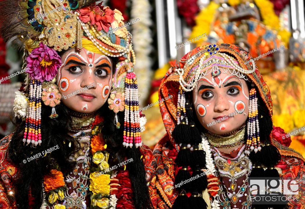 Stock Photo - India Uttar Pradesh State Mathura maked up children with traditional costumes assists to a religious ceremony during the Holi festival ...  sc 1 st  Age Fotostock & India Uttar Pradesh State Mathura maked up children with ...