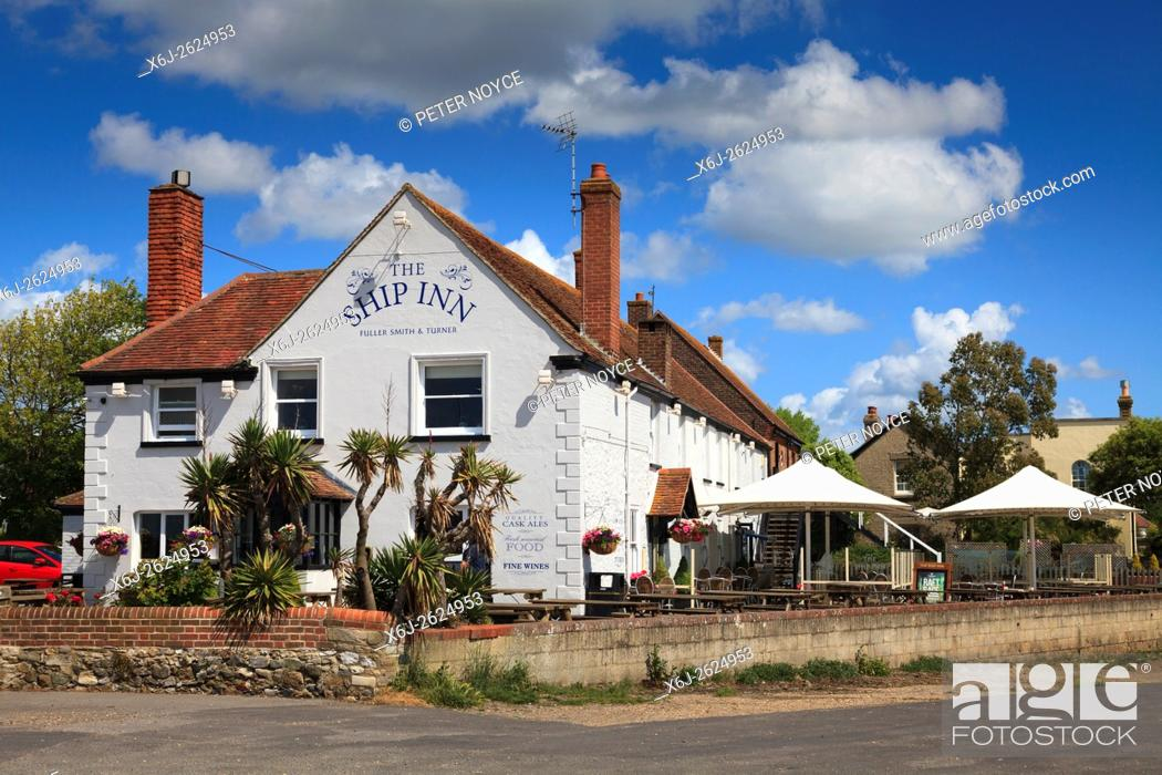 Stock Photo: The Ship Inn at Langstone on a sunny day without people.