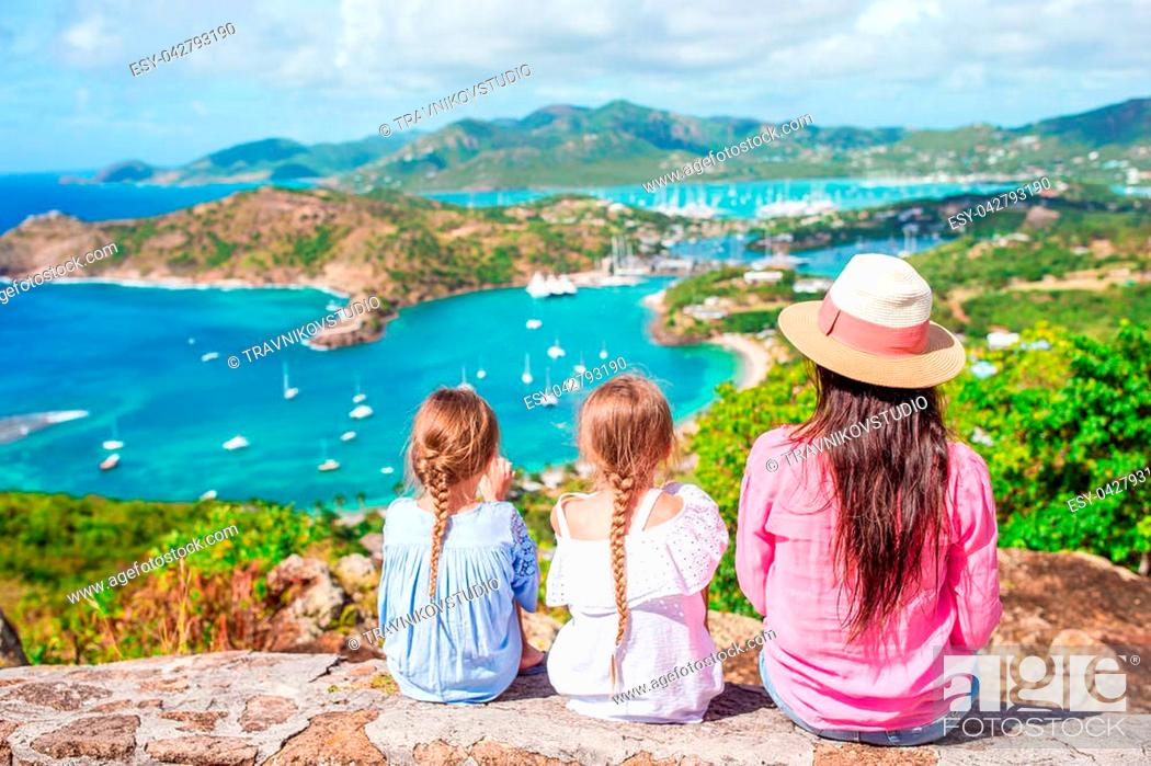 Stock Photo: View of English Harbor from Shirley Heights, Antigua, paradise bay at tropical island in the Caribbean Sea.