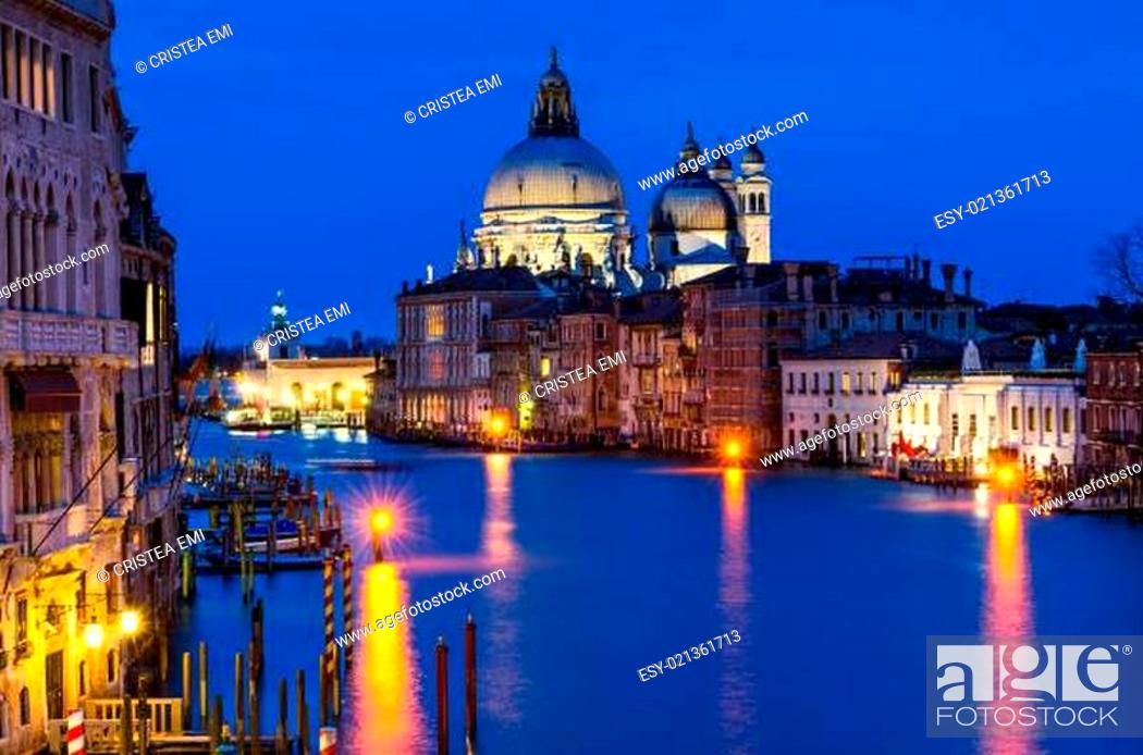 Stock Photo: Grand Canal of Venice by night.