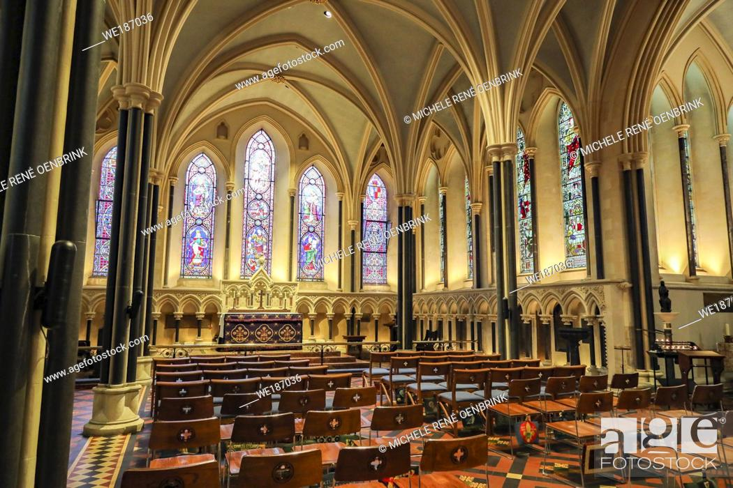 Stock Photo: Stained glass windows at St Patricks Cathedral in Dublin, Ireland, Republic of Ireland.