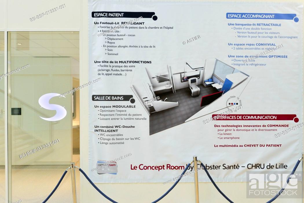 Stock Photo: HOSPITAL ROOM. Concept room prototype designed by Lille hospital and Clubster Santé in France. The hospital room of the future provides ergonomic fittings.