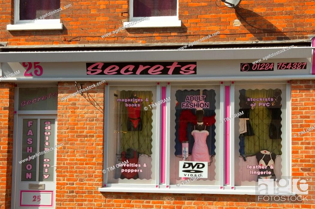 Stock Photo: The Secrets sex shop for adults in Bury Saint Edmunds , Suffolk , England , Great Britain , UK.