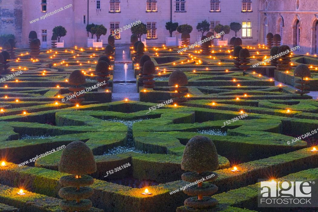 Stock Photo: Castle at the night of the thousand fires, Villandry Castle, Villandry, Indre-et-Loire Department, The Loire Valley, France, Europe.