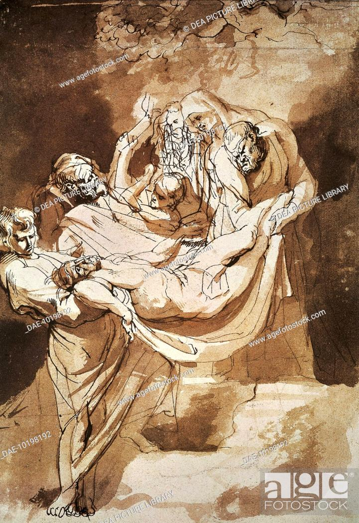 Stock Photo: The deposition of Christ in the tomb, 1615, by Peter Paul Rubens (1577-1640), ink, watercolor on paper, 22x15 cm.  Amsterdam, Rijksmuseum (Art Museum).