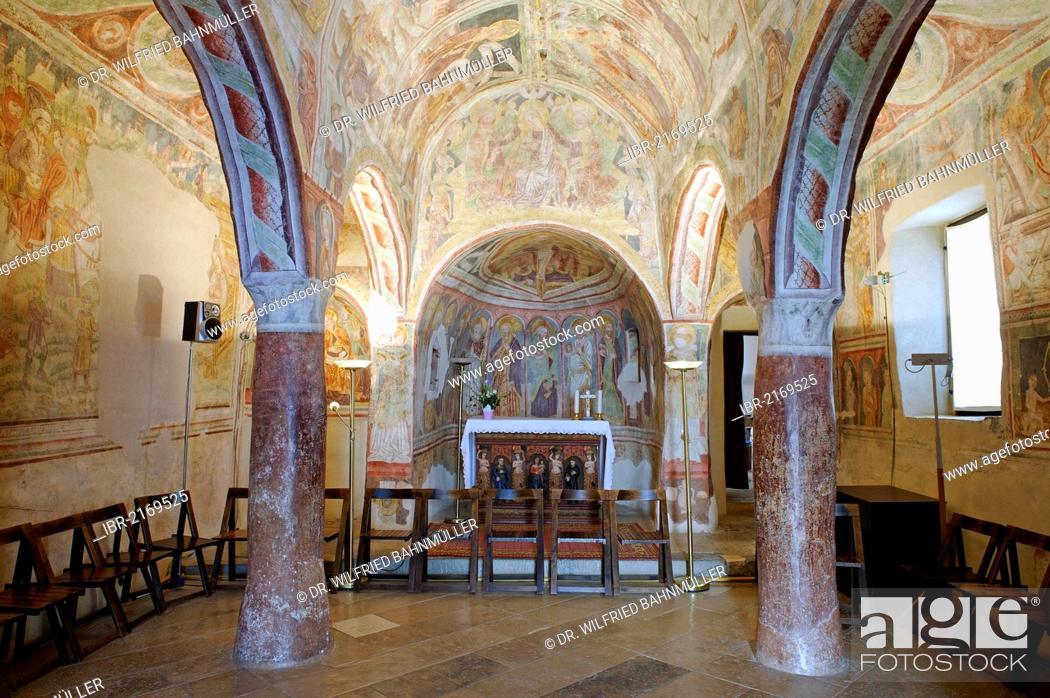 Stock Photo: Interior with frescoes from 1490, church of the Holy Trinity, Hrastovlje in the Rizana Valley, Slovenia, Europe.