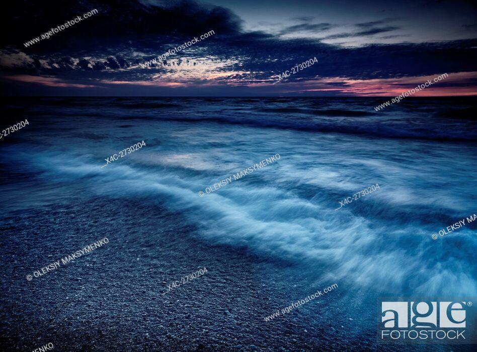 Stock Photo: Beautiful dramatic stormy twilight nature scenery of lake Huron, Grand Bend, Ontario, Canada.