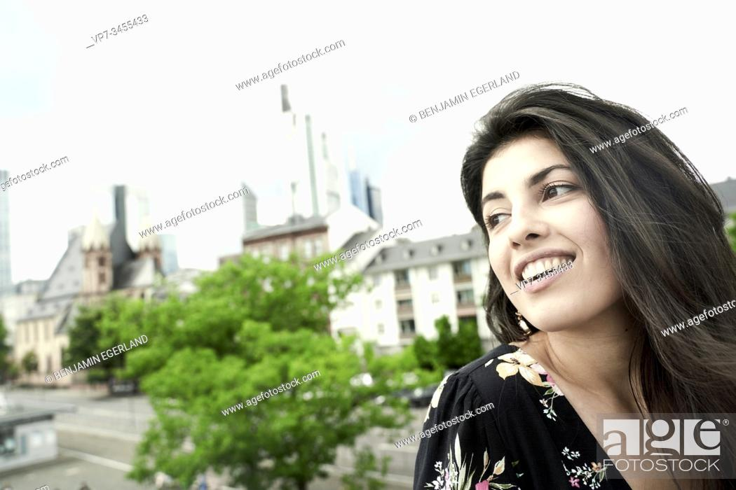Photo de stock: Portrait of happy young woman. Frankfurt am Main. Germany.