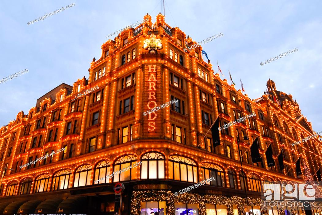 Stock Photo: Harrods at Knightsbridge London in Christmas light decoration December 2016.