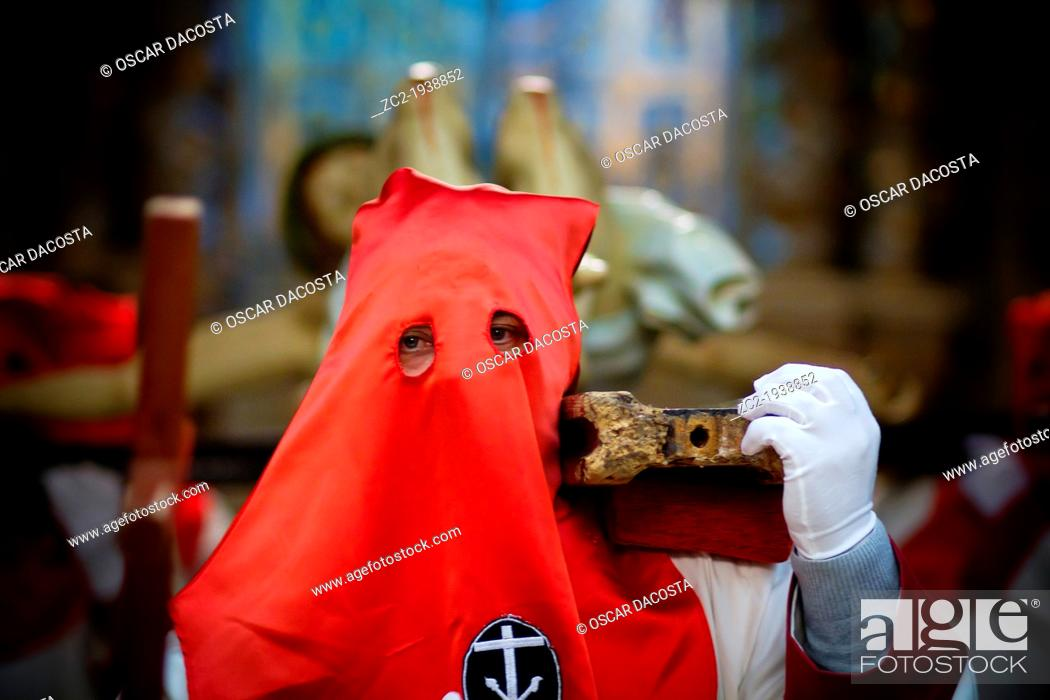 Stock Photo: a brotherhood moved to crucified Jesus Christ inside the cathedral of Santiago de Compostela.