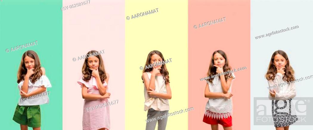 Stock Photo: Collage of brunette hispanic girl wearing different outfits looking confident at the camera with smile with crossed arms and hand raised on chin.