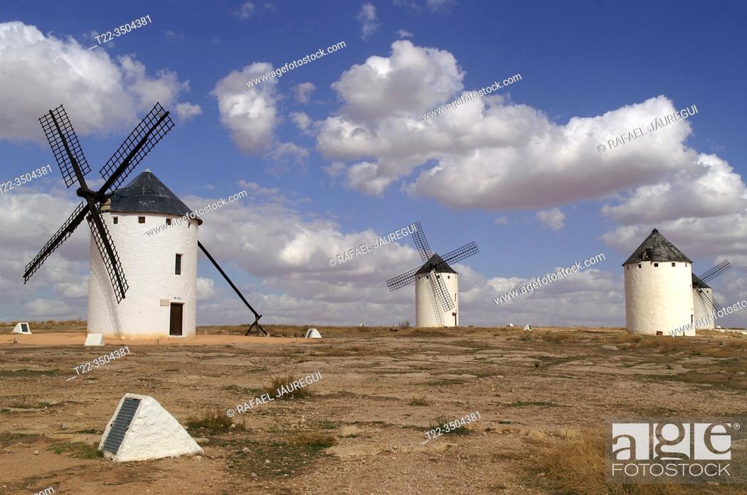 Stock Photo: Campo de Criptana (Spain). Windmills next to the town of Campo de Criptana.