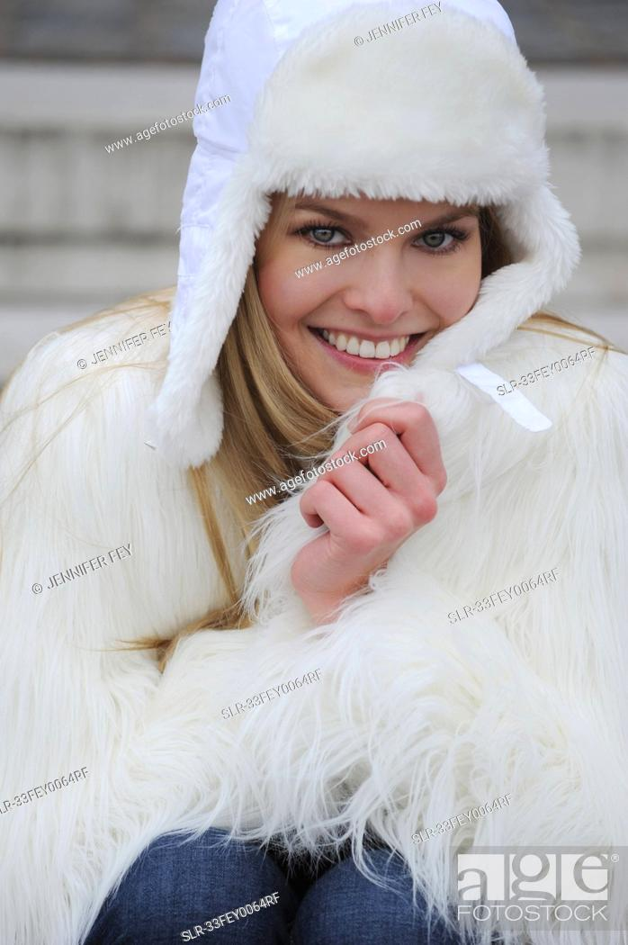 Stock Photo: Woman wearing winter clothes.