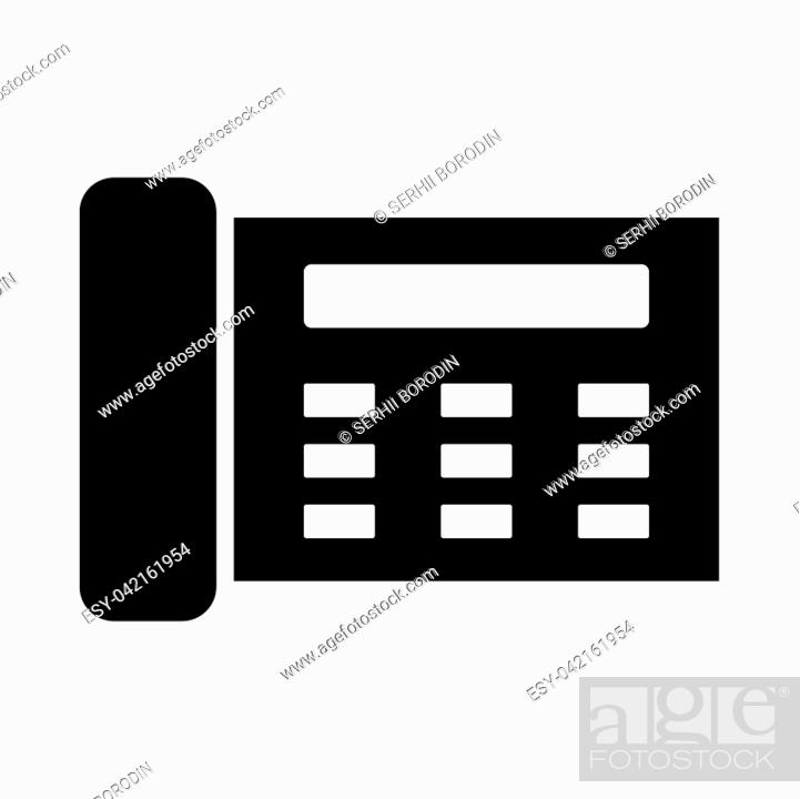 Stock Vector: Fax it is black icon . Flat style.