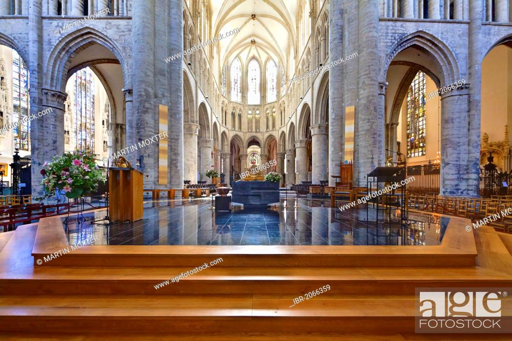 Stock Photo: Interior view, Cathedral de San Michel, St. Michael and St. Gudula Cathedral, Place Sainte-Gudule, Brussels, Belgium, Benelux, Europe.