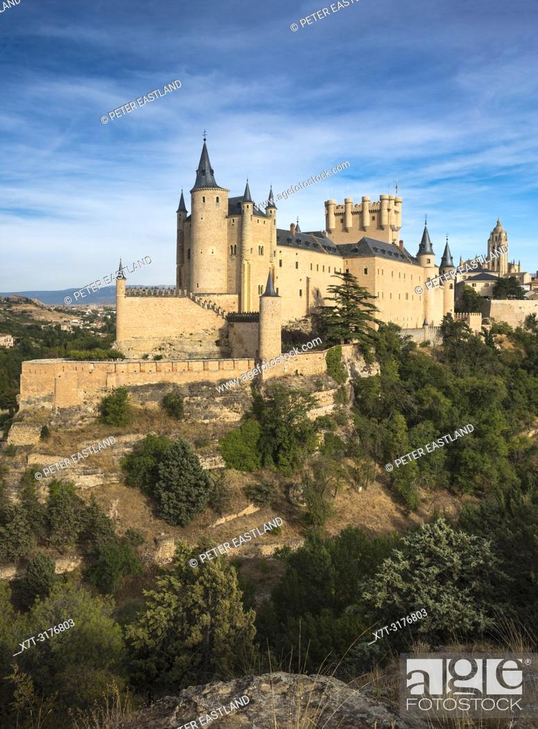 Stock Photo: The Alcazar with the Cathedral and city of Segovia in the background, Segovia, Central Spain.