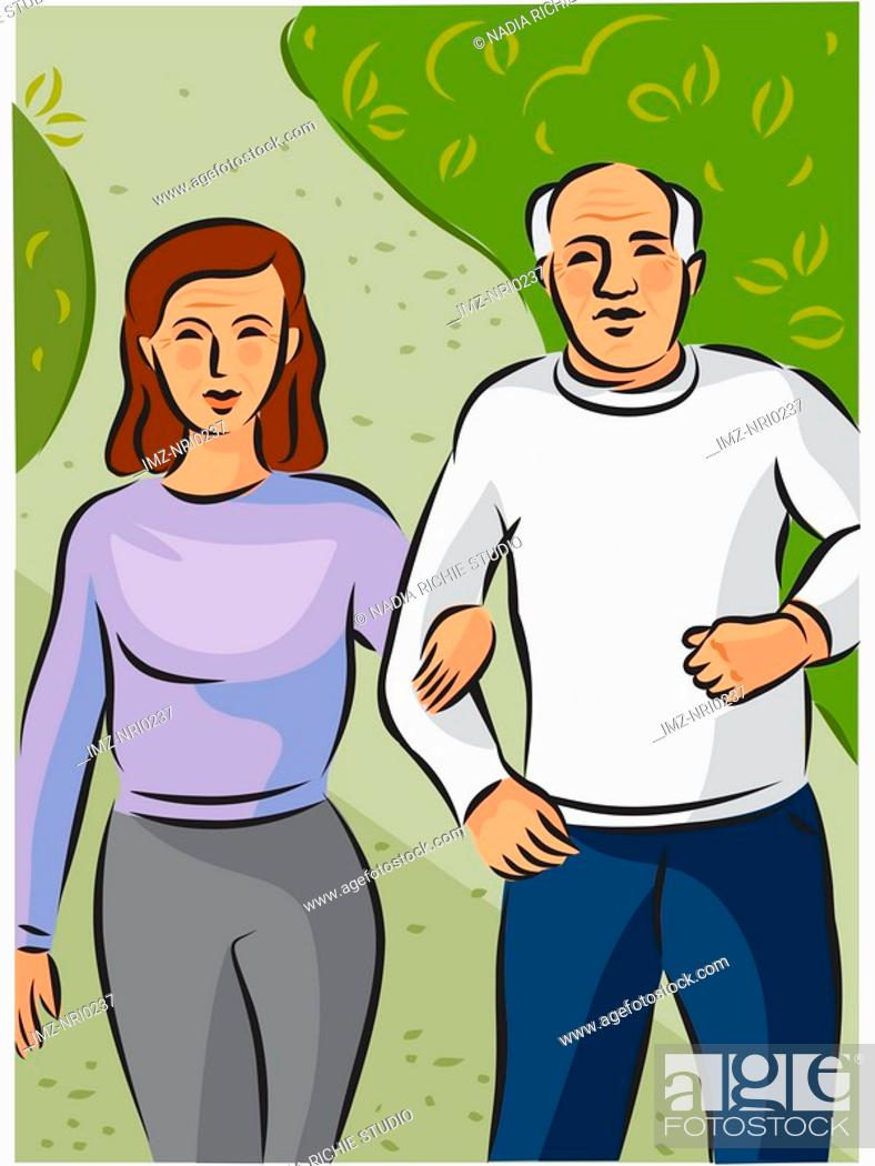 Stock Photo: An elderly couple walking hand in hand along a path in the park.