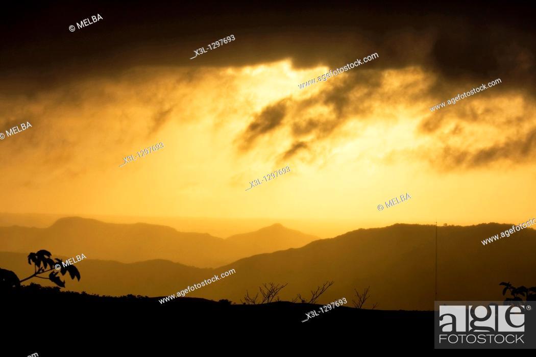 Stock Photo: Sunset at Omar Torrijos National Park, Panamá.