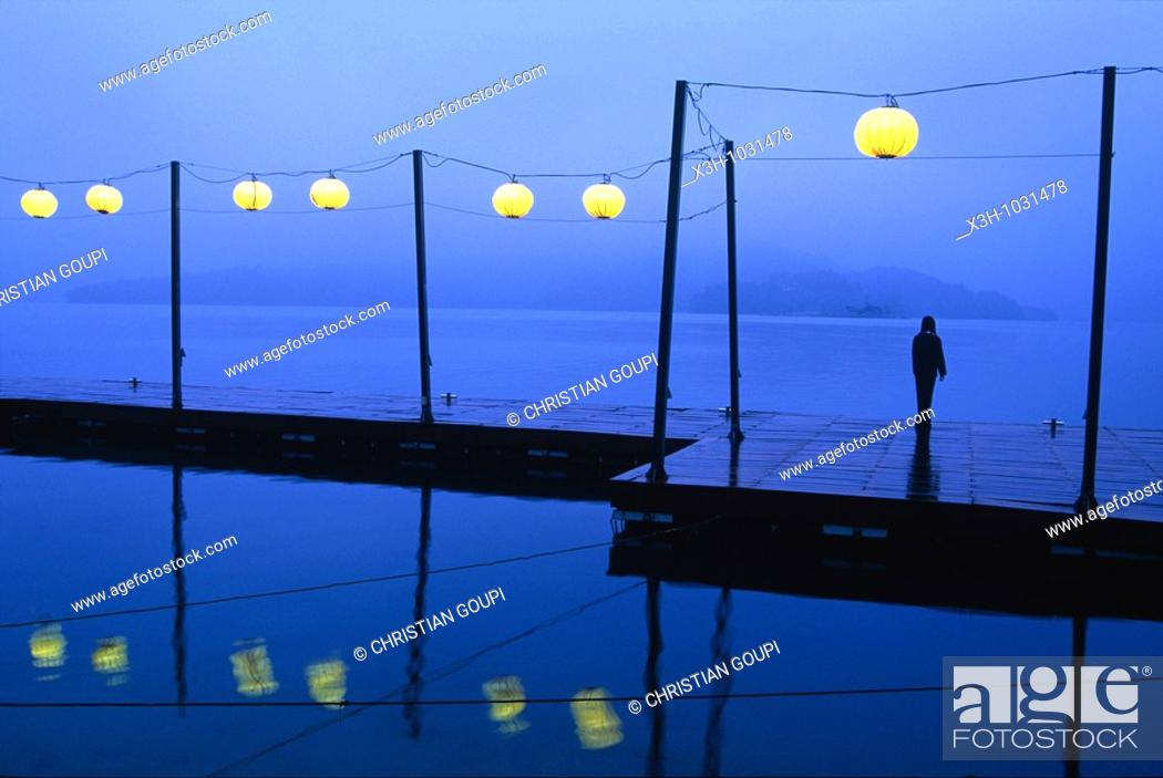 Stock Photo: Sun Moon Lake at dusk, the largest natural lake in Taiwan also known as Formosa,Republic of China, East Asia.