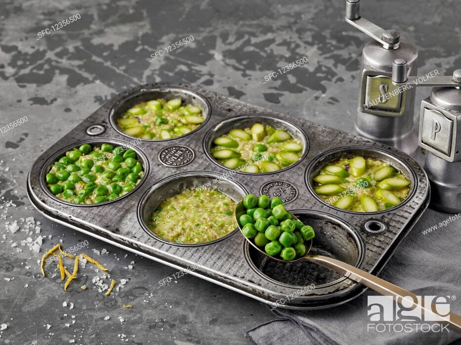 Stock Photo: Quinoa muffins with peas and asparagus.