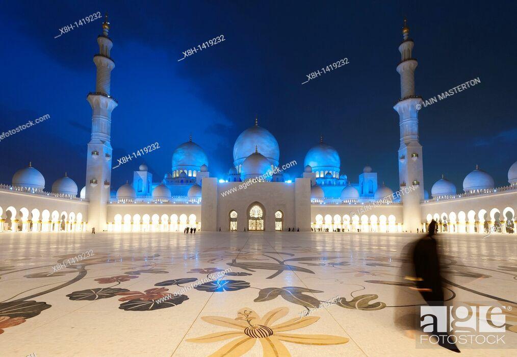 Stock Photo: Sheikh Zayed Bin Sultan Al Nahyan Mosque in Abu Dhabi, United Arab Emirates, UAE.