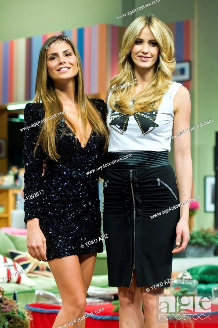 Stock Photo: Kalispera telecast, Canale 5 Mediaset, Milan, Italy, 05 01 2011 Nina Senicar and Elena Santarelli.
