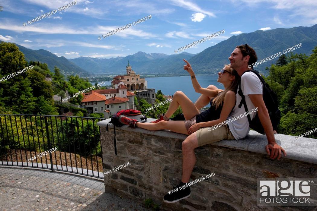 Stock Photo: Switzerland, Europe, lake, canton, TI, Ticino, Southern Switzerland, Lago Maggiore, church, religion, Madonna del Sasso, Locarno, couple, man, woman, couples,.