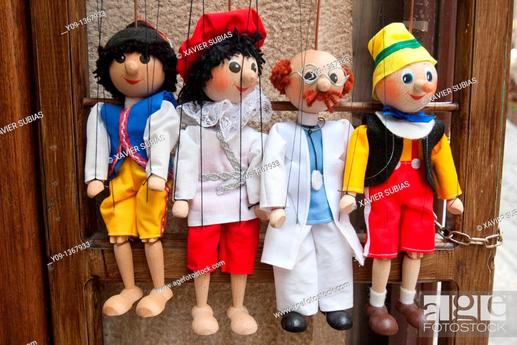Stock Photo: Souvenir,Tipical marionettes hanging from their threads, Prague, Czech Republic.